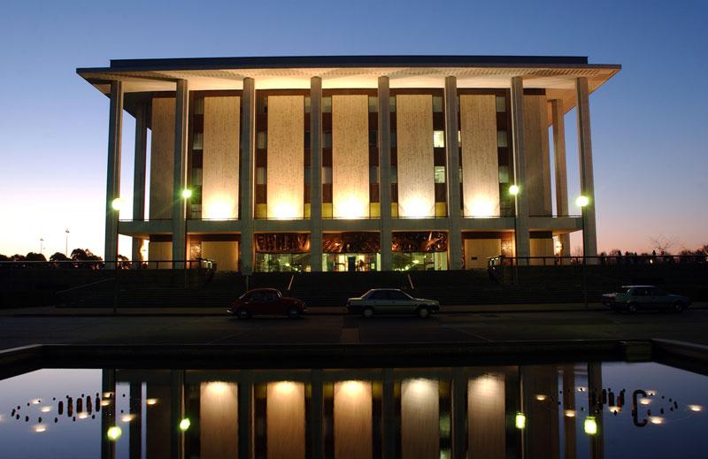 library-external-at-dusk